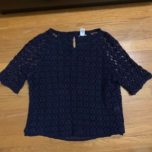 F21 • Navy Blue Crochet Lace Half Sleeve Top Small